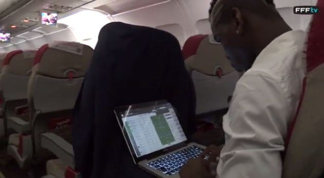 In game mode: Paul Pogba plays Football Manager (Picture: FFF YouTube)