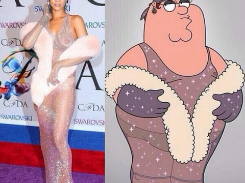 Who wore it best? Family Guy's Peter Griffin channels Rihanna in see-through dress