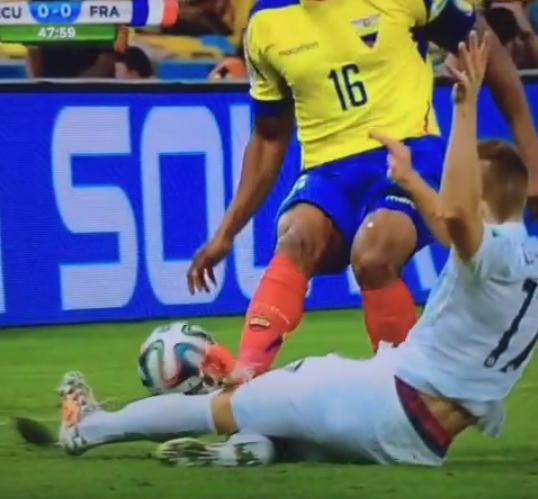 Manchester United's Antonio Valencia sent off for challenge on France's Lucas Digne