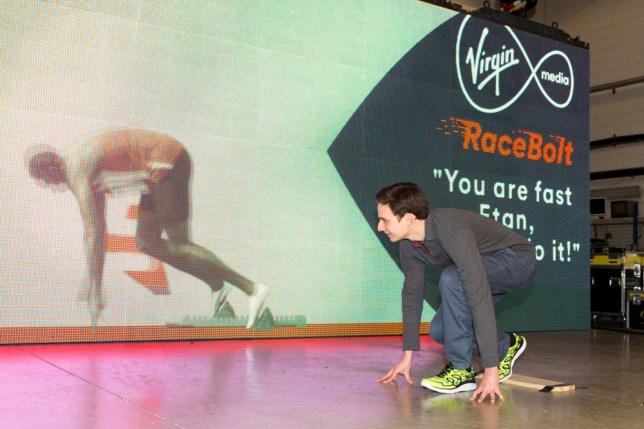 Metro's Etan Smallman lines up at the start against Usain Bolt (Picture: Virgin Media)