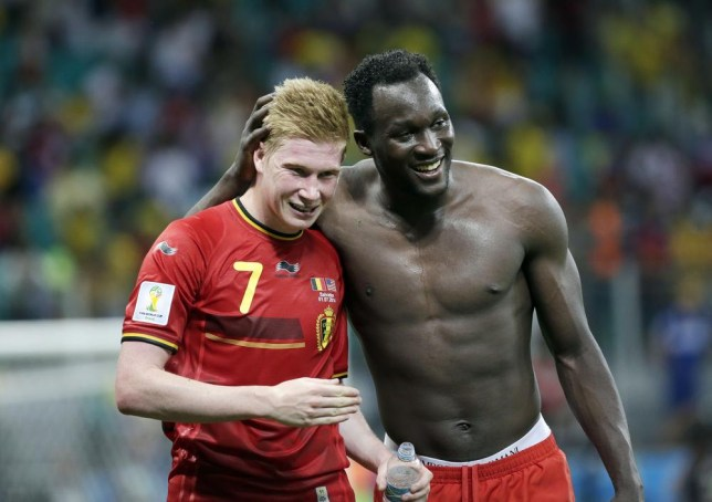 Belgium's Kevin De Bruyne, left, and Romelu Lukaku, right, celebrate after the World Cup round of 16 soccer match between Belgium and the USA at the Arena Fonte Nova in Salvador, Brazil, Tuesday, July 1, 2014. Belgium held on to beat US 2-1 in extra time.(AP Photo/Felipe Dana) AP Photo/Felipe Dana