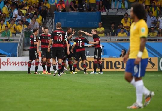 Germany's midfielder Toni Kroos (R) cele