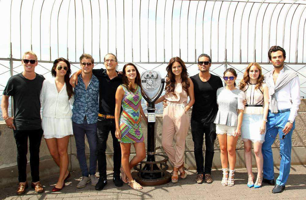 Mandatory Credit: Photo by Startraks Photo/REX (3870718ag)  Jamie Laing, Riley Uggla, Stevie Johnson, Oliver Proudlock, Lucy Watson, Binky Felstead, Spencer Mathews, Louise Thompson, Rosie Fortescue and Mark Francis Vandelli  'Made In Chelsea' cast at the Empire State Building, New York, America - 27 Jun 2014