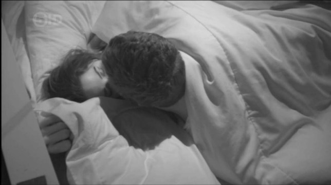 Steven Goode and Kimberly Kisselovich kissing on Big Brother 2014
