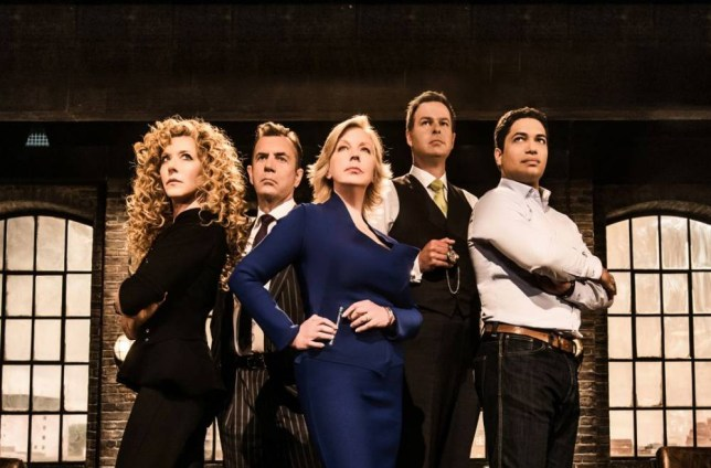 Television Programme: Dragons' Den with Kelly Hoppen, Duncan Bannatyne, Deborah Meaden, Peter Jones and Piers Linney. WARNING: Embargoed for publication until: 06/08/2013 - Programme Name: Dragons' Den - TX: n/a - Episode: n/a (No. n/a) - Picture Shows: The Dragons (L-R) Kelly Hoppen, Duncan Bannatyne, Deborah Meaden, Peter Jones, Piers Linney - (C) BBC - Photographer: Andrew Farrington