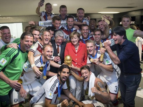 German Chancellor Angela Merkel gets dressing room selfies with World Cup winning side