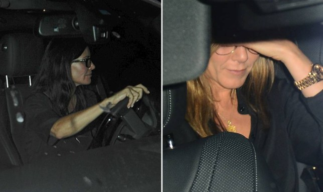 """Jennifer Aniston, Courteney Cox and Lisa Kudrow exit Craig's in Beverly Hills. The """"Friends"""" stars drive out, with the driver for Aniston crashing the new car he's driving with his client in it.n<P>nPictured: Courteney Coxn<P><B>Ref: SPL803384  160714  </B><BR/>nPicture by: Vladimir Labissiere/Splash News<BR/>n</P><P>n<B>Splash News and Pictures</B><BR/>nLos Angeles: 310-821-2666<BR/>nNew York: 212-619-2666<BR/>nLondon: 870-934-2666<BR/>nphotodesk@splashnews.com<BR/>n</P>"""