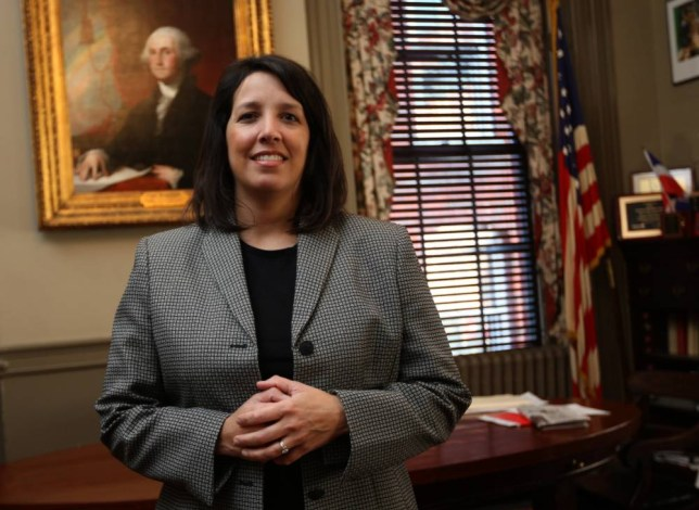 SALEM, MA - FEBRUARY 9: Kim Driscoll in her office at Salem City Hall. (Photo by Joanne Rathe/The Boston Globe via Getty Images)