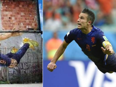 Robin van Persie's amazing flying World Cup header immortalised in favela street art