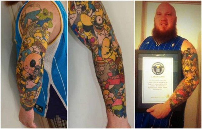 Pic Shows..  A Simpsons fanatic who was banned from watching the popular TV cartoon as a child has broken a world record after getting covered in tattoos of Homer Simpson.  Lee Weir, 27, dubbed his father the 'real-life Ned Flanders' and was not allowed to watch the popular cartoon as head of the household Homer was depicted to be a 'bafoon'.  But father-of-one Lee was so in love with the famous animated sitcom that he had his favourite characters etched on to his skin in ink for life.  His 41 tattoos earned him the prestigious title of world record holder for having the most tattoos of the same cartoon character tattooed on the body.  See Copy