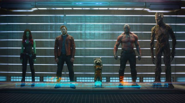 Marvel's Guardians Of The Galaxy L to R: Gamora (Zoe Saldana), Peter Quill/Star-Lord (Chris Pratt), Rocket Raccoon (voiced by Bradley Cooper), Drax The Destroyer (Dave Bautista) and Groot (voiced by Vin Diesel) Ph: Film Frame Marvel 2014