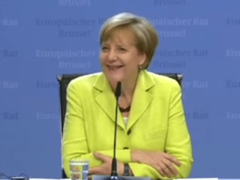 Watch the cringeworthy moment reporter sings happy birthday to Angela Merkel