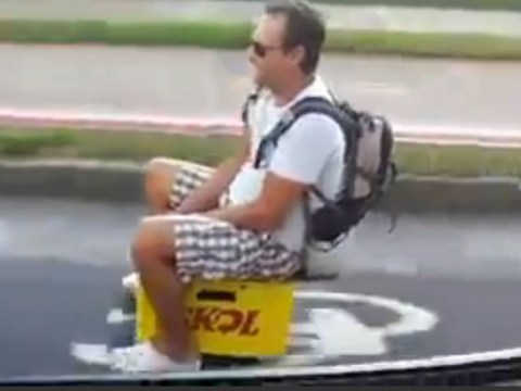 Man turns beer crate into motorised scooter, wins at life