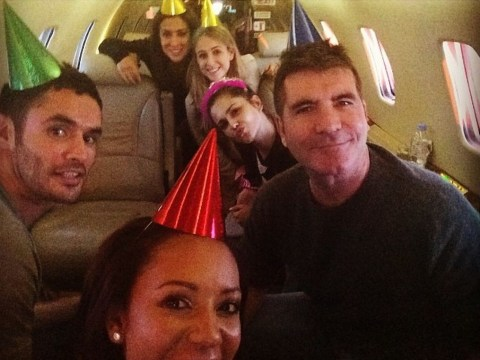 Simon Cowell hosts private jet party for Cheryl Cole's birthday complete with party hats and everything