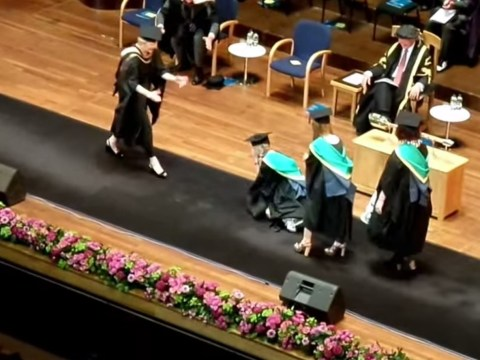 Funny video shows why you shouldn't wear platforms to your graduation