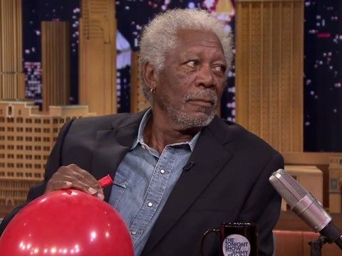 He's at it again! Morgan Freeman repeats helium stunt on The Tonight Show – but didn't look too pleased about it