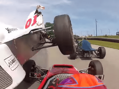 Boss is cool as a cucumber after near death crash on a racetrack