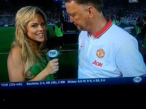 Has Manchester United boss Louis van Gaal been busted looking at reporter's chest?