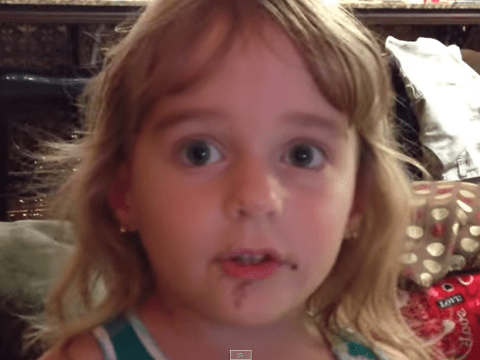 Little girl claims she didn't eat doughnut. Evidence strongly suggests otherwise.