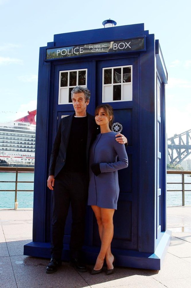 SYDNEY, AUSTRALIA - AUGUST 12: Twelfth Doctor, Peter Capaldi, poses with his on-screen companion Jenna Coleman during a world tour to promote the new series of Doctor Who at Dendy Opera Quays on August 12, 2014 in Sydney, Australia. Lisa Maree Williams/Getty Images