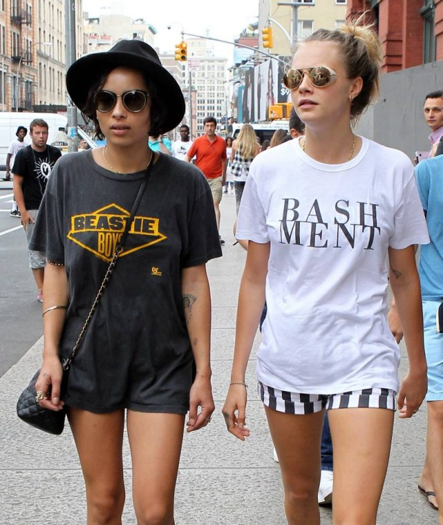 Cara Delevingne and Zoe Kravitz show off their legs by wearing very short shorts during their stroll through New York City. August 21, 2014 X17online.com nOK FOR WEB SITE USAGE.nAny quieries please call Alasdair or Gary on office 0034 966 713 949/926 or mibile Gary 0034 686 421 720 or Alasdair on 0034 630 576 519