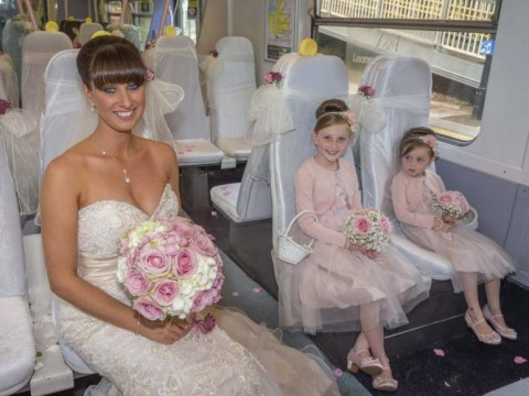 This bride's dress came with a very long train: Woman catches public transport to her wedding