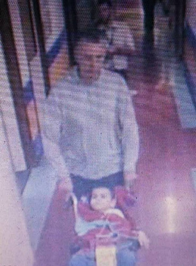 "BEST QUALITY AVAILABLE Handout CCTV still issued by Hampshire Police of Ashya King, who has a brain tumour, being taken from Southampton General Hospital by his father Brett King at around 1600 yesterday without the blessing of doctors. PRESS ASSOCIATION Photo. Issue date: Friday August 29, 2014. Hampshire Constabulary said ""there are serious concerns"" for the life of Ashya as he needs constant medical care. Officers said his parents - Brett, 51, and Naghemeh King, 45, - boarded a cross-Channel ferry from Portsmouth to Cherbourg at 4pm yesterday with Ashya's six siblings. See PA story POLICE Boy. Photo credit should read: Hampshire Police/PA Wire NOTE TO EDITORS: This handout photo may only be used in for editorial reporting purposes for the contemporaneous illustration of events, things or the people in the image or facts mentioned in the caption. Reuse of the picture may require further permission from the copyright holder."