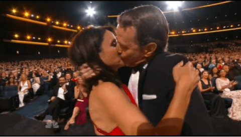 Bryan Cranston and Julia Louis-Dreyfus share amazing kiss at the Emmy awards 2014