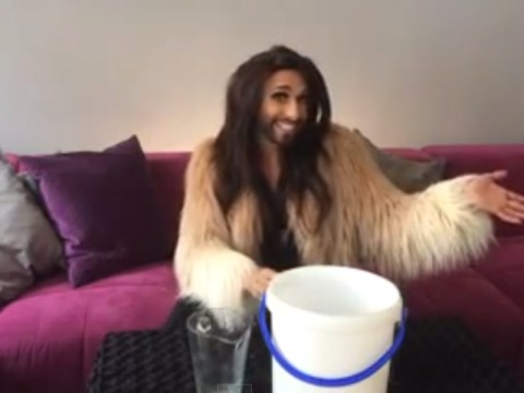 Is that really how you do the ice bucket challenge, Conchita Wurst?