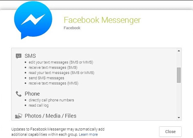 Can the Facebook Messenger app take control of my phone