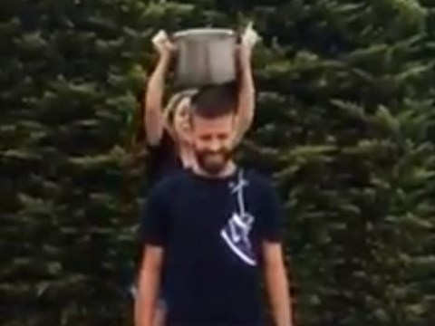 Gerard Pique and Shakira do ice bucket challenge before singer accidentally hits Barcelona defender with empty pan