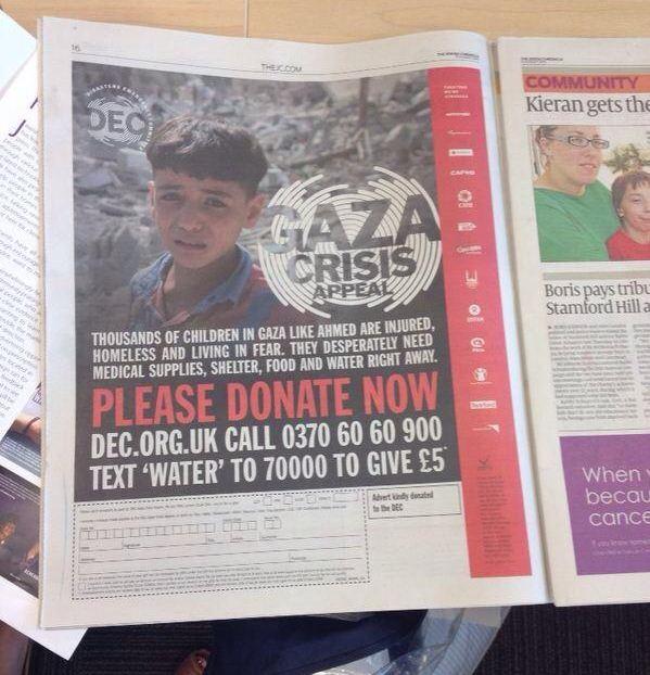 Jewish Chronicle facing backlash after publishing Gaza charity advert asking for humanitarian aid