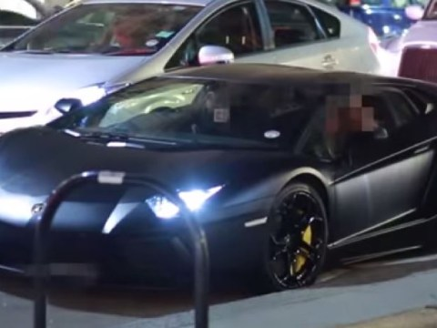 Angry resident in window throws apple at £300,000 Lamborghini Aventador
