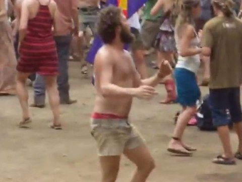 Yes, this festival-goer is 'the happiest man in the world'