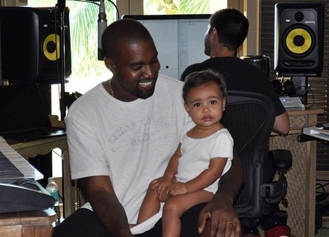 Kim Kardashian Instagrams adorable picture of Kanye West in the studio with North