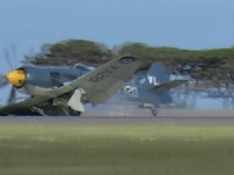 A very British reaction to emergency landing of an old fighter plane at military air show