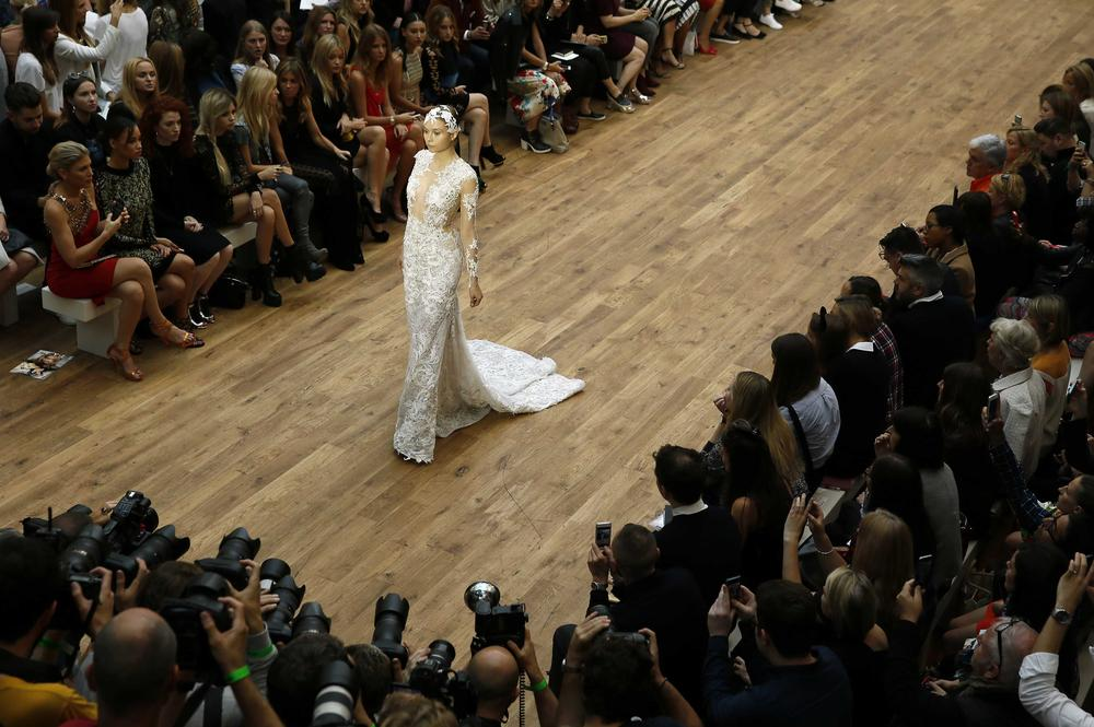 Julien Macdonald unveils £4million diamond wedding dress at London Fashion Week