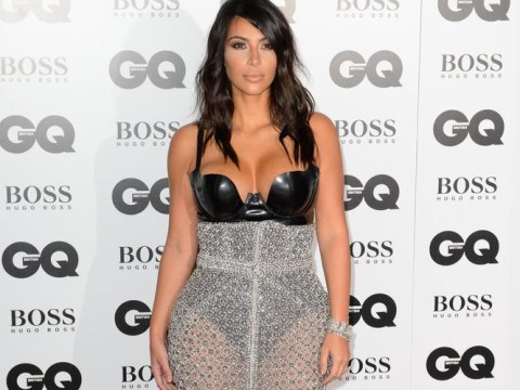 Kim Kardashian leaves pretty much nothing to the imagination in latex bodysuit and sheer skirt