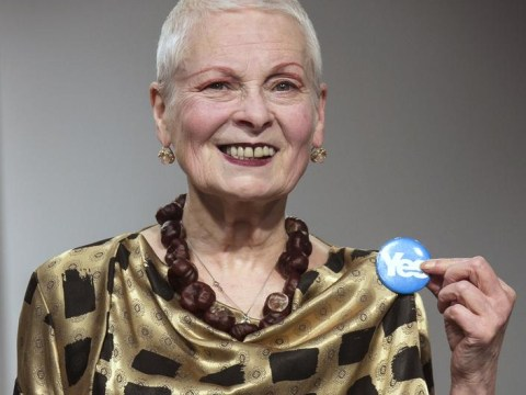 Vivienne Westwood says she 'hates England' as she sends models wearing Yes badges down her LFW runway