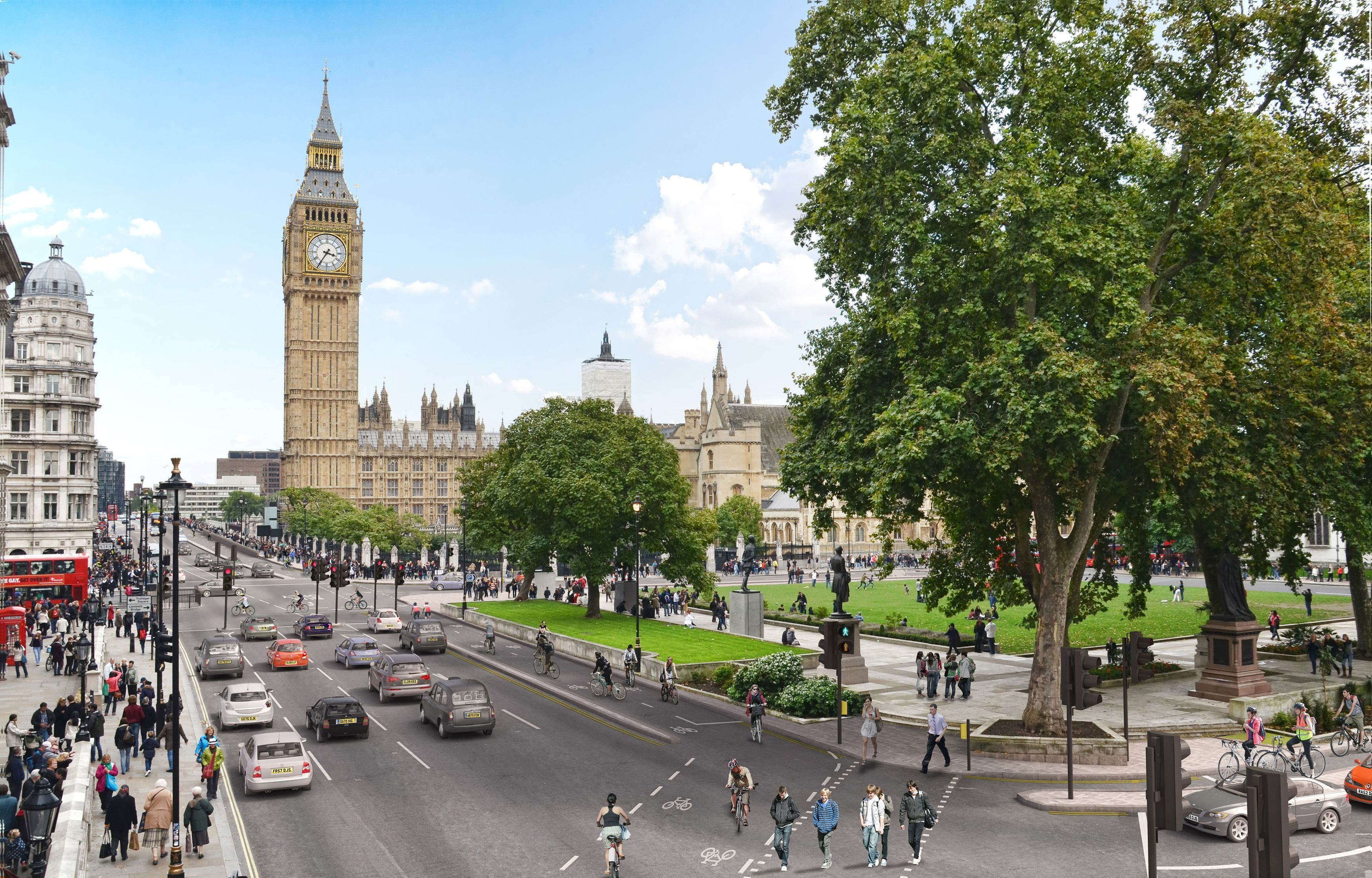 artist's impression showing how Parliament Square in London would look after an urban cycleway was installed.