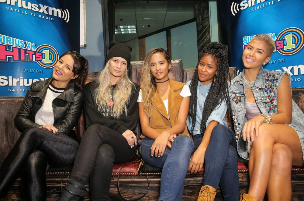 LOS ANGELES, CA - AUGUST 26:  (L-R) Singers Natasha Slayton, Lauren Bennett, Emmalyn Estrada, Simone Battle and Paula van Oppen of G.R.L. attend SiriusXM Hits 1's The Morning Mash Up Broadcast at SiriusXM Studios on August 26, 2014 in Los Angeles, California.  (Photo by Chelsea Lauren/Getty Images for SiriusXM)