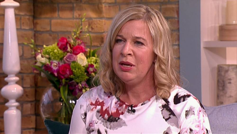 """****Ruckas Videograbs****  (01322) 861777 *IMPORTANT* Please credit ITV for this picture. 01/09/14 This Morning - ITV1 Grabs of Katie Hopkins appearing on this morning's show where she was interviewed by Holly Willoughby and Phillip Schofield about her new documentary 'Katie Hopkins Journey to Fat and Back' which is due to air on TLC in January 2015. The documentary see's her gaining three sone in a bid to prove to people there is no excuse for putting on weight and not losing weight and she spoke about the physical and mental effects she has suffered since undergoing her experiment, admitting that it has been """"emotional"""". Hopkins was often out of breath during the interview and was seen holding her back. Office  (UK)  : 01322 861777 Mobile (UK)  : 07742 164 106 **IMPORTANT - PLEASE READ** The video grabs supplied by Ruckas Pictures always remain the copyright of the programme makers, we provide a service to purely capture and supply the images to the client, securing the copyright of the images will always remain the responsibility of the publisher at all times. Standard terms, conditions & minimum fees apply to our videograbs unless varied by agreement prior to publication."""