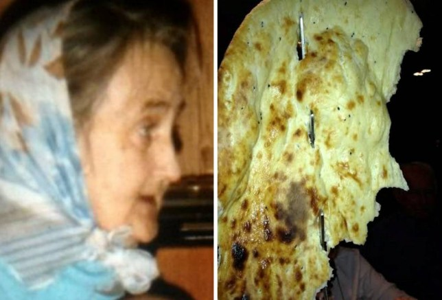 """Nan Sheila Nelson whose family discovered her image - in a naan bread. See SWNS story SWNAAN; A family thought they were saying 'aloo' again to their late grandmother who had come back from the bread after they spotted her face -- in a NAAN. Stunned Anthony Nelson, 22, was out with his family to celebrate a new job and they ordered huge naan breads to share during their Indian meal. But they had a korma-blimey moment when they all spotted late Sheila Nelson's face in the snack and momentarily feared his Gran had rice-n from the dead. Production company editor Anthony, from Stockton-on-Tees, said: """"I looked up and saw it and it was so spooky - it looked just like her profile."""