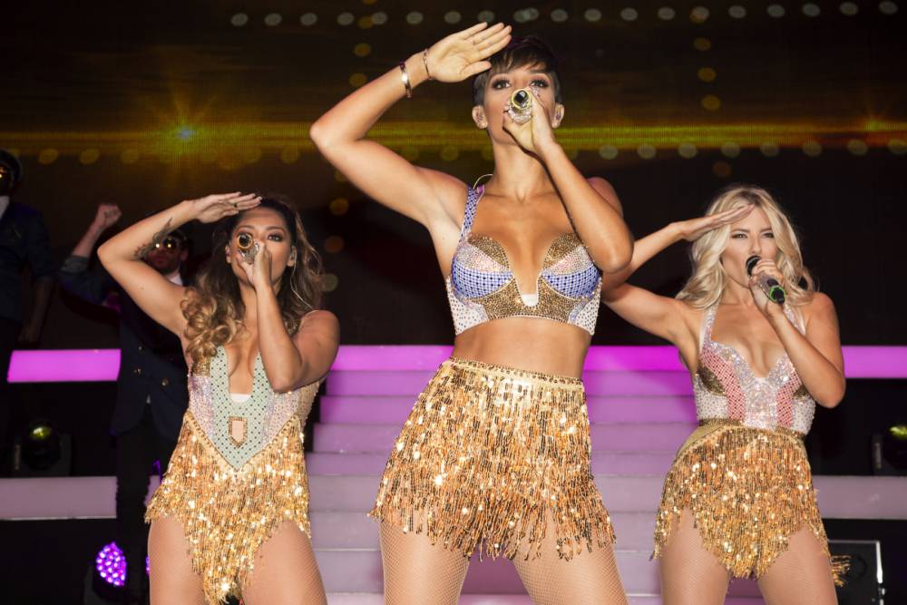 Frankie Bridge in two places at once as she juggles Strictly Come Dancing and The Saturdays