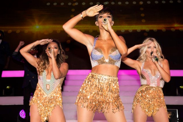 IMAGES EMBARGOED ONLINE UNTIL 21:45 7/9/2014 DISTRIBUTED FOR FASCINATION MANAGEMENT The Saturdays perform on stage during The Saturdays    Greatest Hits Live! Tour at the SECC in Glasgow on Sunday, Sept. 7, 2014. (Photo by Joseph Sinclair/Invision for Fascination Management/AP Images) ** PLEASE NOTE THAT THESE IMAGES ARE NOT PART OF ANY AP SUBSCRIPTION AND AS SUCH COMMAND SPACE RATE FEES BASED ON USAGE **