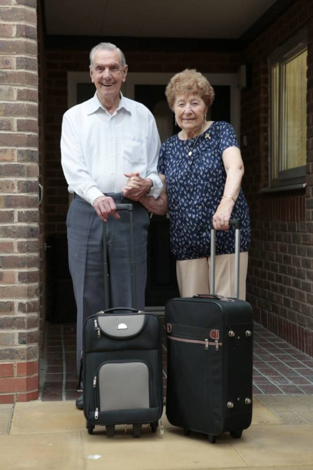 Elderly couple Madge and Charlie Pallett, both in their 90s, are going to fly off on their holidays for the first time. See MASONS story MNHOLIDAY; A couple in their 90s who have never been on a foreign holiday are packing their bags to head to BENIDORM. Charlie Pallett, 93 and wife Madge, 91, have been married for 71 years and always holidayed at the British seaside. Mr Pallett has not been in a plane since the Second World War and Madge has only left England once, when she got the ferry to Le Touquet in France for a day trip. Now the couple, who have five grandchildren and seven great-grandchildren, are breaking the habit of a lifetime in style - jetting off for a week in the Spanish sun. Mr Pallett will have to buy a new pair of swimming trunks as his only pair are from the 1960s.
