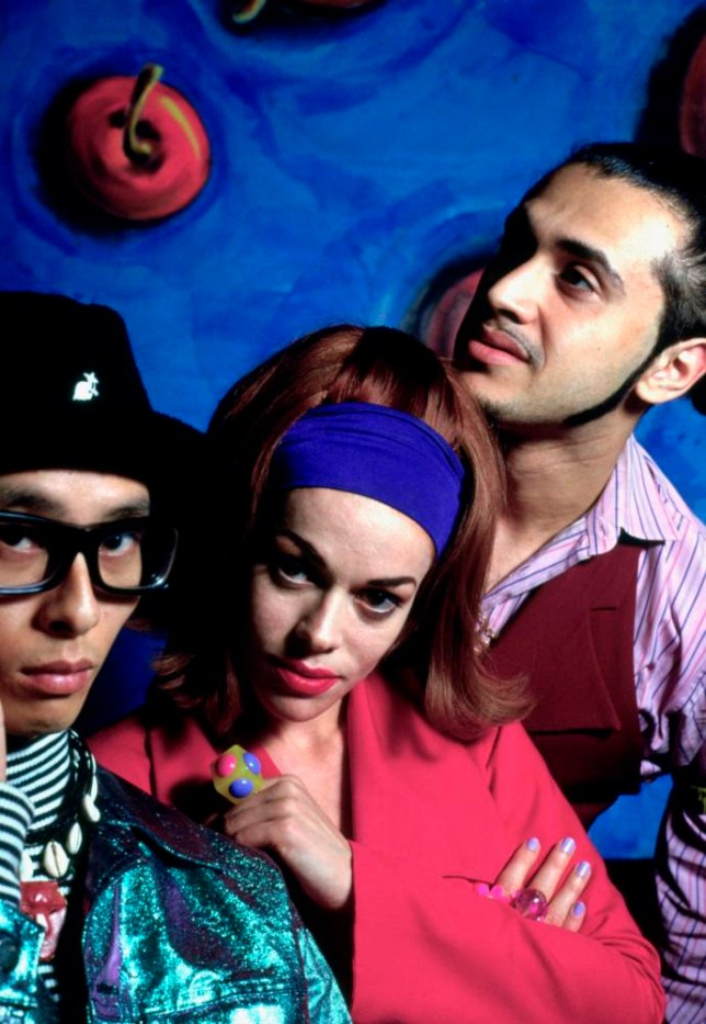 Portrait of dance group Deee-Lite (Super DJ Dmitri, Lady Miss Kier and Jungle DJ Towa Tei) photographed in the early 1990's.;  (Photo by JA Barratt/Photoshot/Getty Images)