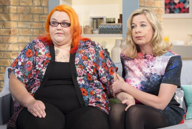 EDITORIAL USE ONLY / NO MERCHANDISING.. Mandatory Credit: Photo by Ken McKay/ITV/REX (4121427av).. Christina Briggs and Katie Hopkins.. 'This Morning' TV Programme, London, Britain. - 25 Sep 2014.. I NEED MORE BENEFITS TO LOSE WEIGHT -  We speak to the 25 stone mother - Christina Briggs - who says the taxpayer should be paying for her to lose weight. She's here along with Katie Hopkins who says being obese is her own fault...
