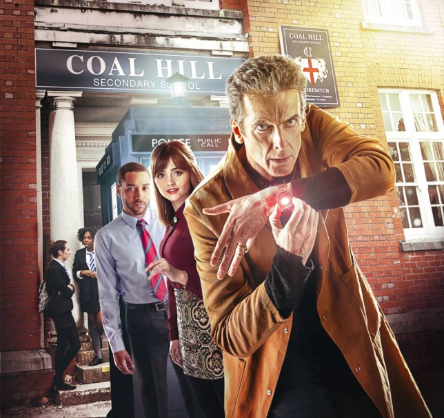 Peter Capaldi, Jenna Coleman (Clara) and Samuel Anderson (Danny Pink) in Doctor Who, The Caretaker