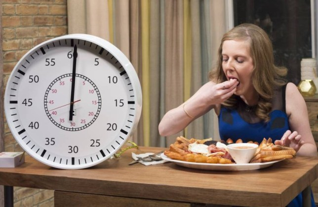 "EDITORIAL USE ONLY / NO MERCHANDISING  Mandatory Credit: Photo by Ken McKay/ITV/REX (4131199k)  Emma Dalton  'This Morning' TV Programme, London, Britain. - 29 Sep 2014  EATING CHALLENGE -  Will champion eater Emma Dalton beat the ""Wonder cafe challenge""? which consisted of eating one of the world's largest fried breakfasts. We find out if she managed it in under 45 minutes. Yes around 21 mins..."